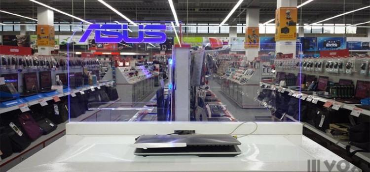 Проектиране, производство и монтаж на презентационни кутии за Asus